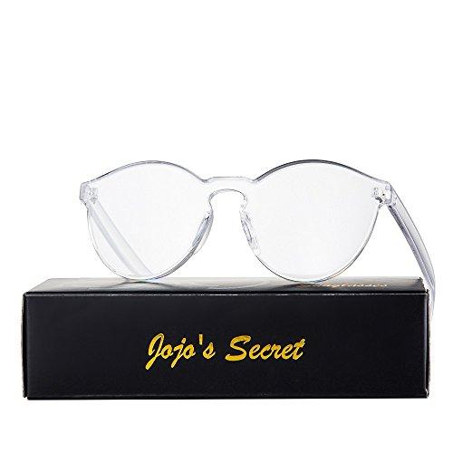 JOJO'S SECRET One Piece Rimless Sunglasses Transparent Candy Color Eyewear JS017 (Transparent&White, 2.3)