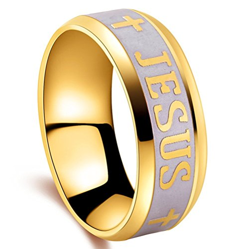 Men Women 8mm Stainless Steel 18k Gold Plated Religious Style Christian Jesus Cross Band Ring Comfort Fit Size - Band Jesus Ring