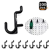 Pegboard Hooks 100-packs J Shape Peg Hooks Black Peg Hook Accessories