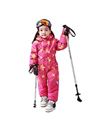Wonny One Piece Snowsuit Kids Waterproof Girls Skisuit Pink