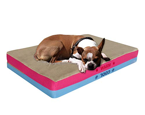 Pet Control HQ Premium Orthopedic Dog Bed & Cooling Pad in 1 w Gel-Infused Memory Foam|Therapeutic Supportive Pillow Mat, Washable & Waterproof|Micro-Suede Brown for Small, Medium, Large Pets, Dogs