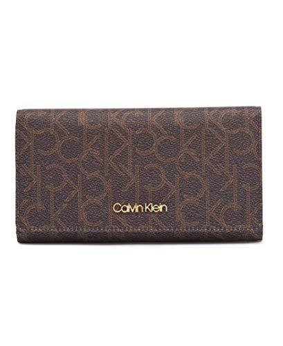 Calvin Klein Key Item Signature Billfold Wallet, Brown/khaki/luggage saffiano