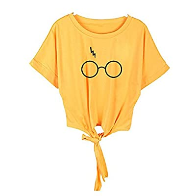Handyulong Clearance Women Shirts Chiffon Casual Short Sleeve Glasses Print Self Tie Tunic T-Shirt Blouse Tops for Teen Girls