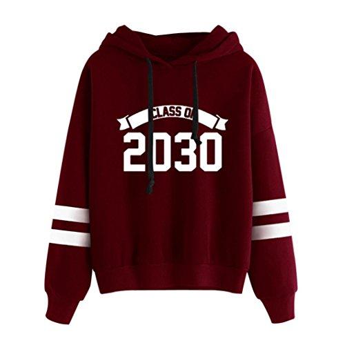 XUANOU Womens Long Sleeve Hoodie Sweatshirt Jumper Letters Printed Hooded Pullover Tops Blouse (M, Red)