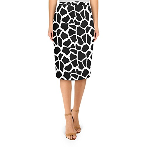 Queen of Cases Bright Giraffe Print White - M - Midi Pencil Skirt ()