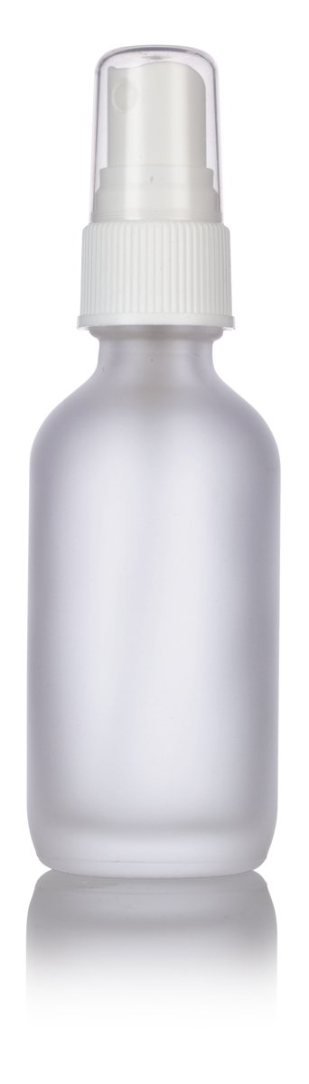 2 oz Frosted Clear Glass Boston Round White Fine Mist Spray Bottle (24 pack) + Funnel and Labels for essential oils, aromatherapy, food grade, bpa free by JUVITUS (Image #4)
