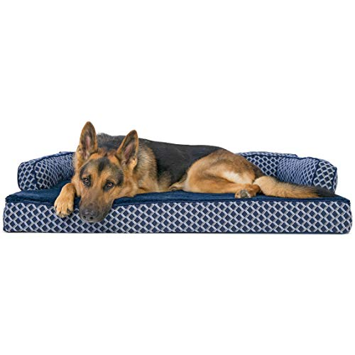 Furhaven Pet Dog Bed | Orthopedic Plush Faux Fur & Décor Comfy Couch Sofa-Style Living Room Couch Pet Bed for Dogs & Cats, Diamond Blue, Jumbo (Sofa Bed Name)