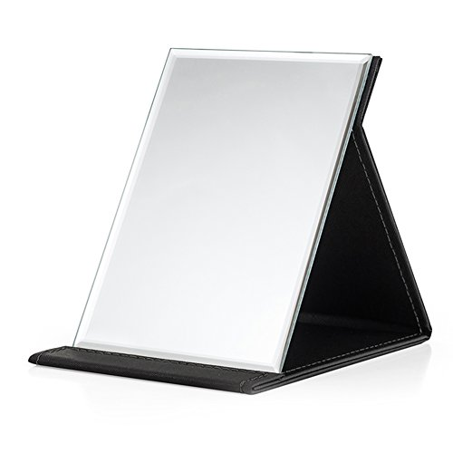 HaloVa Makeup Mirror, Adjustable Portable Folding Vanity Mirror, Lightweight Slim Cosmetic Mirror with PU Leather Stand, Perfect for Outdoor Activities Travel Holidays Camping, Black