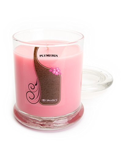 Pure Plumeria Candle - Medium Pink 10 Oz. Highly Scented Jar Candle - Made with Natural Oils - Flower & Floral Collection (Yankee Candle Plumeria)