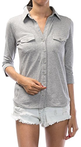 URBAN K WOMENS Plus Size Roll-up Sleeve Knitted Button Down Collar Shirt ,UBK888_H.GREY,XXX-Large