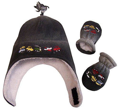 N'Ice Caps Boys Sherpa Lined Micro Fleece Embroidered Hat and Mitten Set (6-18 months, Infant - Black/Grey Tye Dye)