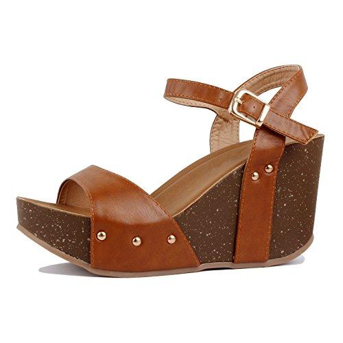 Platform Open Wedge Sandal - Guilty Heart - Womens Cutout Gladiator Lace up Stiletto High Heel Open Toe Sandal Platforms & Wedges, Tanv3 Pu, 6 B(M) US