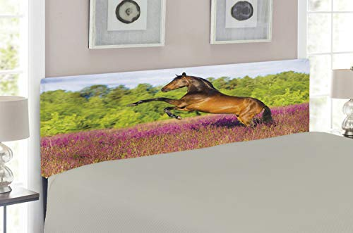 Lunarable Horse Headboard for Queen Size Bed, Strong Bay Horse Rearing Up in Blossoming Rural Summer Field Trees, Upholstered Decorative Metal Headboard with Memory Foam, Green Hot Pink and Brown