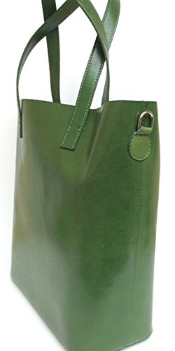 SUPERFLYBAGS Borsa Shopper a Spalla in Vera Pelle Liscia e Lucida modello Rella 2 in 1 made in Italy verde