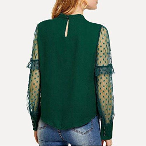 Longue Blouse Chemises Femme Blouse Pois Tops t Dentelle en Manches Transparent OVERDOSE Volantes Vert Sexy qzO7ww