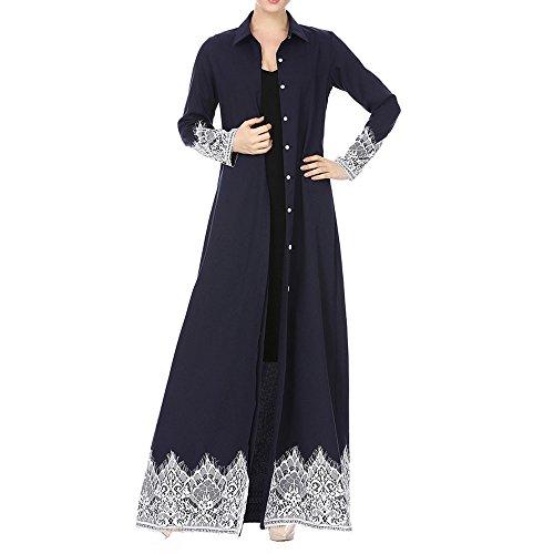 Muslim Women Lace Trimmed Front Abaya Muslim Maxi Kaftan Kimono by Mose