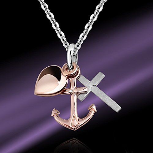MATERIA Necklace Pendant Faith Love Hope Rose Gold Filled over Sterling Silver Two-Tone #KA-234