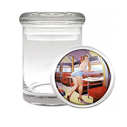 """Medical Glass Stash Jar Hot Waitress Pin Up Girls S9 Air Tight Lid 3"""" x 2"""" Small Storage Herbs & Spices"""