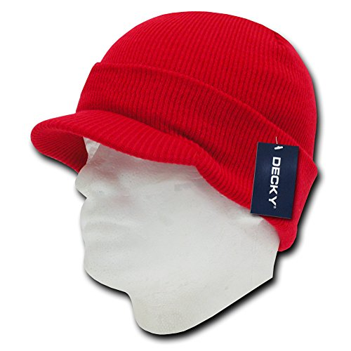 DECKY Jeep Cap, Red (Red Beanie Visor)
