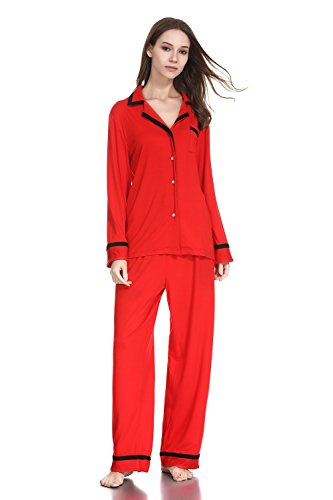 lantisan Cotton Pajamas for Women,Long Sleeved Button Down Notch Collar PJ Set,Red,XL
