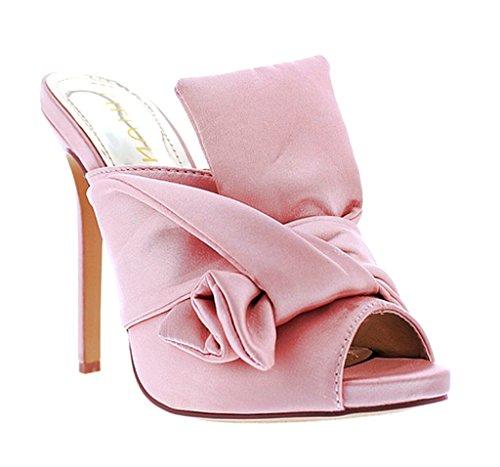 [Satin Cross Over Tie Peep Toe Slip On Women High Heels Liliana Tavi75(Pink 10)] (Clunky Heels)