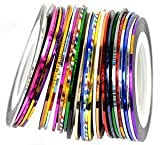 JOVANA Nail Stripes Striping Tapes- Wonderful Nail Decoration Set Kit of 30 Nail Strips Nail Striping Tape in 30 Different Colors. Looks Amazing with Nail Rhinestones and Nail Fimo Decoration.