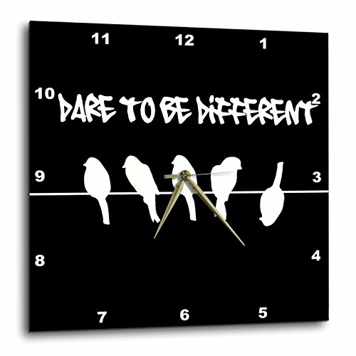 3dRose dpp_113166_2 Black Birds on A Wire-Fun Dare To Be Different Humor-Funny Silhouette Cool Graffiti-Humorous-Wall Clock, 13 by 13-Inch