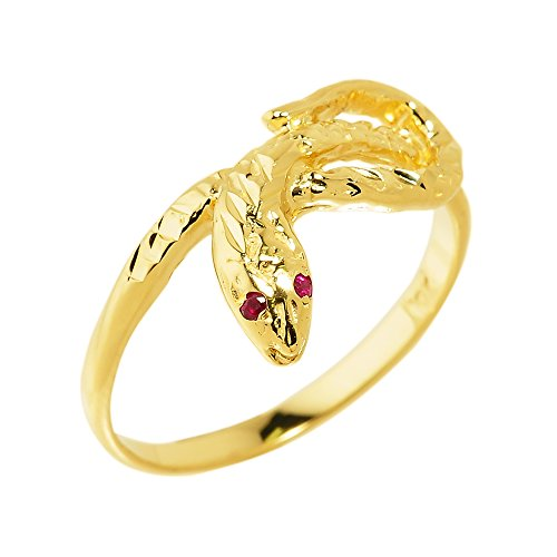 Red Eyed Snake (High Polish 10k Yellow Gold Dainty Red-Eyed Snake Ring (Size 7))