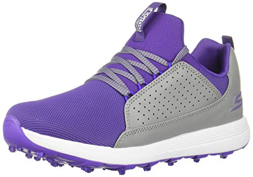 Skechers Girls' Max Mojo Spikeless Golf Shoe, Gray/Purple, 6 M US Big Kid ()