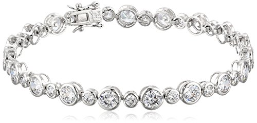 Sterling Silver Round Cut Cubic Zirconia Tennis Bracelet, (Cubic Zirconia Set Bracelet)
