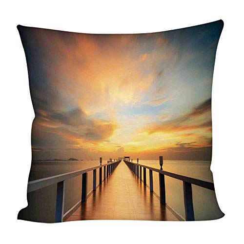 (YOLIYANA Art Throw Pillow Case Cushion,Wood Deck Bridge Along The Sea at Sunset Horizon with Dramatic Sky Autumn Scenery Print for Home Outdoor Couch Sofa,15.7