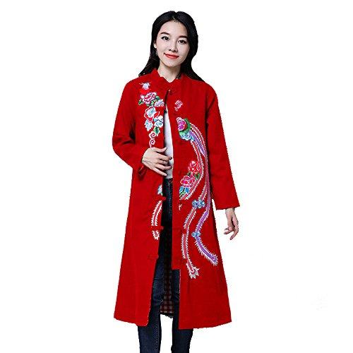 Retro Cappotto Vento Nazionale Ricamo Del Cappotto Phoenix Soprabito Multicolore Multi-size,Red-l