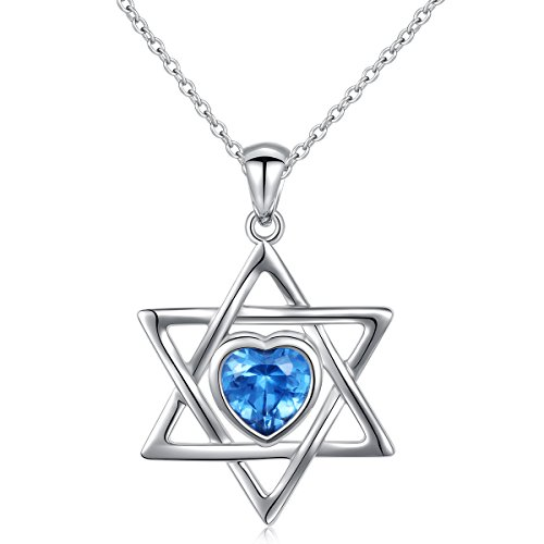 925 Sterling Silver Blue Heart CZ Jewish Star of David Pendant Necklace Gift for Women Girls, 18 inch (Star of ()