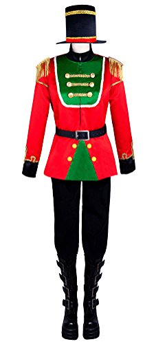 COSKING Nutcracker Prince Costume for Men, Deluxe Halloween Russian Soldier Cosplay Party Outfit (Large)]()