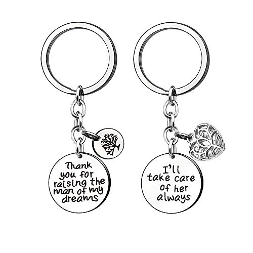 KENYG Mothers Day Stainless Steel Silver Pendant Key Ring Key Chain for Mother-in-Law 2 PCS