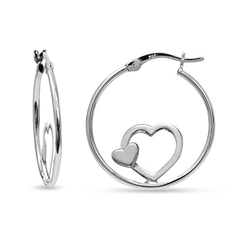 LeCalla Sterling Silver Jewelry Double Heart Hoop Earrings for -