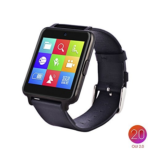 OUMAXBluetooth Smart Watch S6 Plus for iPhone 6, 6 Plus, 6S and Samsung S6, Note 5 (Full Function Support for iOS 9.0 and Android 4.3 or above)Cdark grey/IPS Panel/Premium Leather Strap