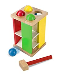 Melissa & Doug Deluxe Pound and Roll Wooden Tower Toy With Ha...