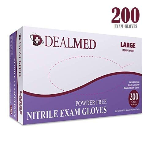 Dealmed Brand Nitrile Medical Grade Exam Gloves, Disposable, Latex-Free, 200 Count, Size Small No Model