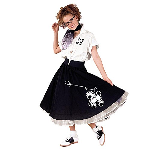 Adult Black & White Complete Poodle Skirt (White Complete Poodle Outfit)