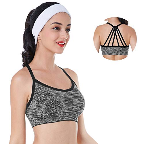 (Taymanso Removable Padded Strappy Sport Bra Comfortable Support Workout Yoga Bra ... Grey)