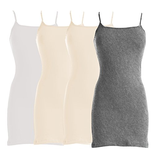 - VIV Collection Four-Pack of Basic Spaghetti Strap Cami Cotton Tank Top (Large, White/Beige/Beige/Heather Gray)