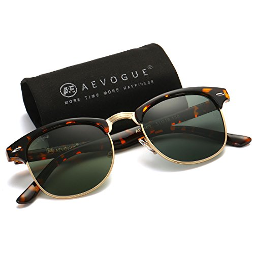 AEVOGUE Polarized Sunglasses Semi-Rimless Frame Brand Designer Classic AE0369 (Tortoise&G15, - Men Clubmaster For