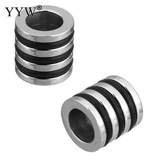 - Calvas Stainless Steel 6/8mm Stripe European Silver Tone Cylinder Bead Fit Leather Bracelet Men Jewelry Making