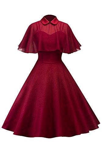 (Sinastar Women's Solid Color Vintage Strappy Billowing Casual Dress with Voile Cape)