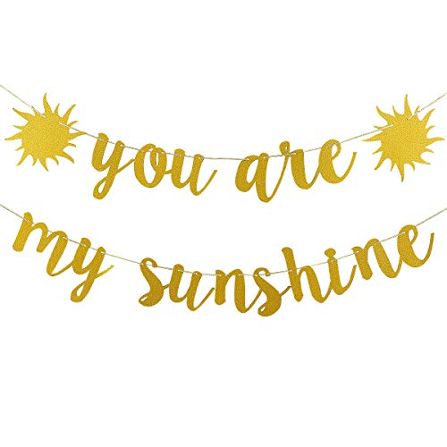 Gold Glittery You Are My Sunshine Banner for Wedding Baby Shower Kid's Birthday Party Decoration Supplies