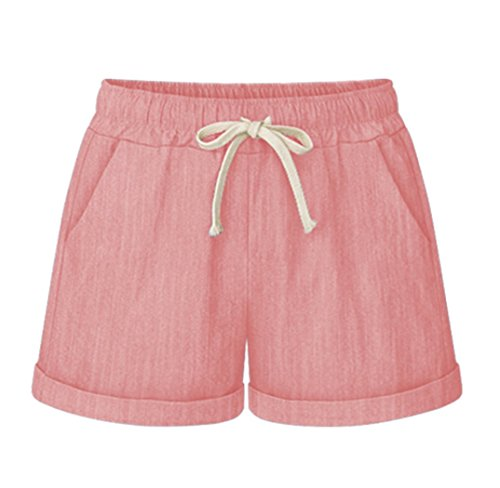 On Shorts Pull Drawstring - Vcansion Drawstring Elastic Waist Casual Comfy Cotton Linen Beach Shorts for Women Pink US 16-18/Asian 5XL
