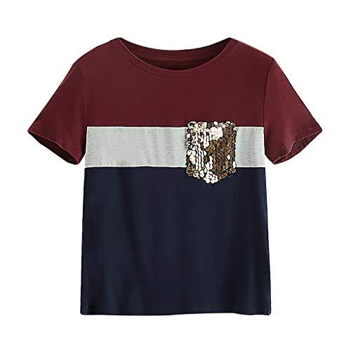 (Amlaiworld Fashion Women Color Block Tops Sequin Pocket O-Neck Short Sleeve T-Shirt Tops Casual Loose Summer Basic Tee Tops Wine)
