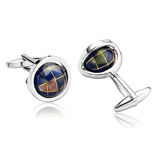 Alimab Jewelry Men's Cuff Links Personalized Novelty Rotatable Globe Purple - Stainless Steel Men - Lewin Eu Tm