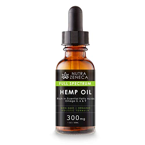 Pure Full Spectrum Hemp Oil - Blended with Hemp Seed Oil Rich in Fatty Acids (300mg / 1 Oz)